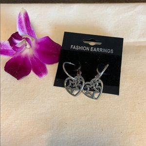 Jewelry - New silver heart small star hoop earrings